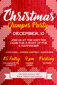 Red Christmas Jumper Party Poster