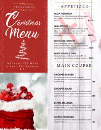 Red Christmas Menu Board