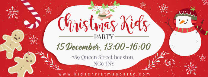 Red Christmas Party for Kids Facebook Cover template