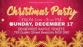 Red Christmas Party Invitation Facebook Cover Video