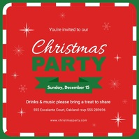 Red Christmas Party Social Media Invitations Message Instagram template