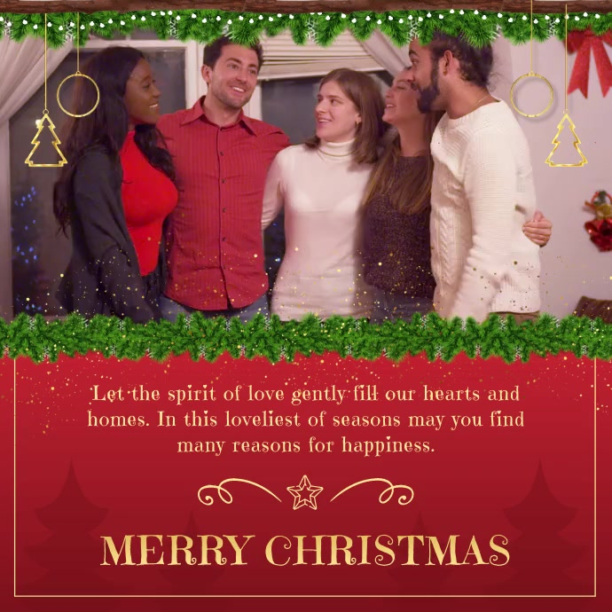 Red Christmas Personalised Wish Square Video template