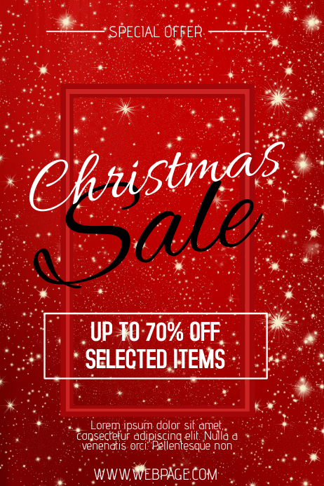 red Christmas sale retail promotion poster flyer template