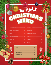 Red Christmas Wallboard Menu