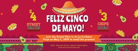 Red Cinco de Mayo Bar Advert Banner Facebook Cover Photo template