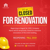 Red Closed for Renovation Instagram Image template