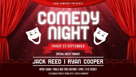 Red Comedy Night Event Facebook Cover Video template