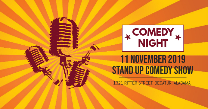 Red Comedy Night Invite Facebook Banner Okładka wydarzenia na Facebooku template