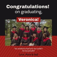Red congratulations for graduation wish Instagram Post template