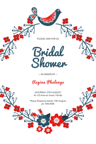 Red Country Style Bridal Shower Invitation