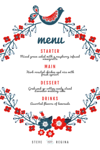 Red Country Style Wedding menu Template