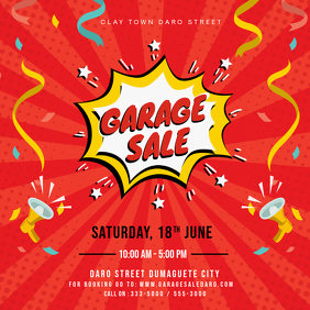 Red Creative Garage Sale Square Advert