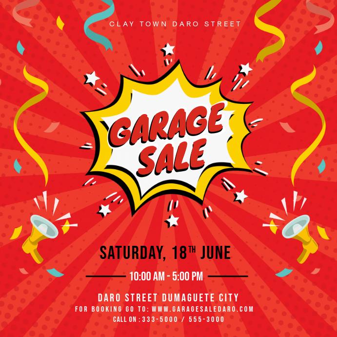 Red Creative Garage Sale Square Advert