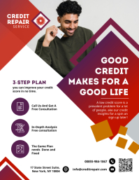 Red Credit Repair Services Business Flyer Tem