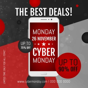 Red Cyber Monday Square Video
