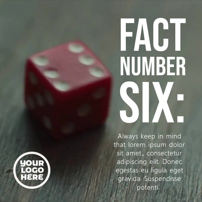 Red Dice Number Six Post Template โพสต์บน Instagram