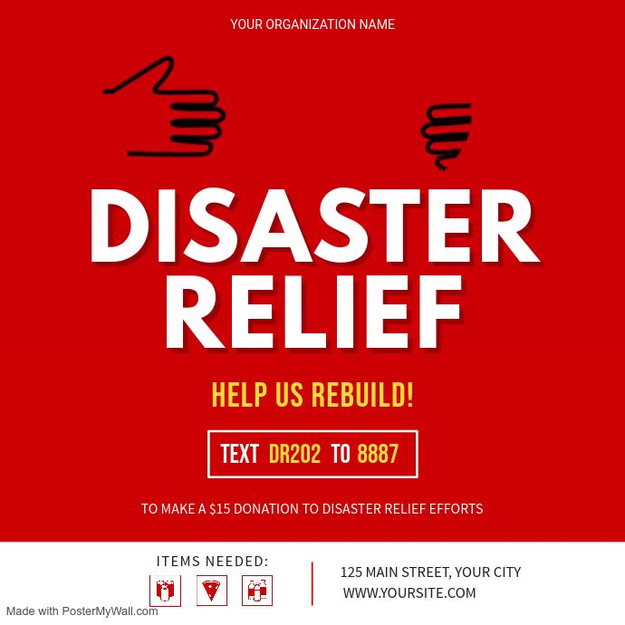 Red Disaster Relief Fundraising Square Video