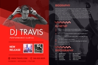 Red Electronic Music Press Kit Poster Templat Плакат template