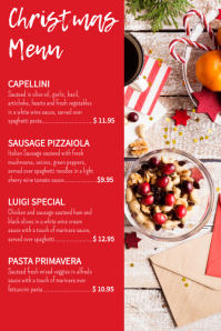Red Elegant Christmas Menu Card Design