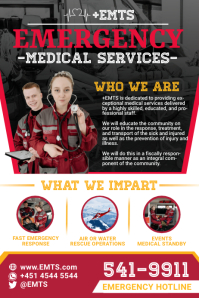 Red Emergency Medical Services Poster Templat template