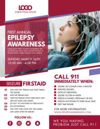 Red Epilepsy Purple Ribbon Event Flyer Folheto (US Letter) template