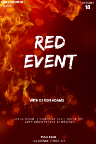 Red event party flyer template Póster