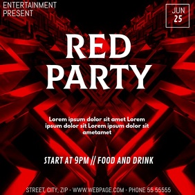 Red event party video flyer template