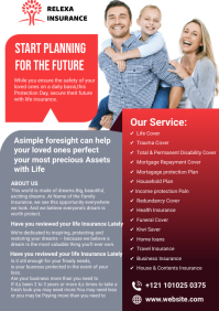 Red Family Insurance Flyer A4 template