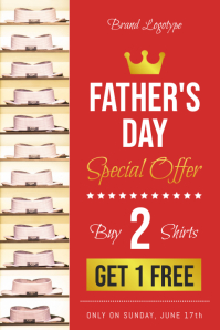 Red Father's Day Sale Flyer Template