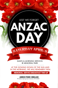 Red Floral Anzac Day Poster Póster template