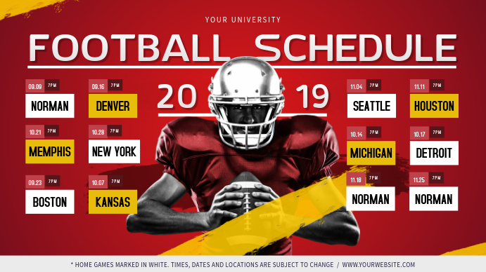 Red Football Digital Display Schedule