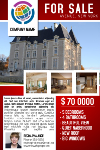 red for sale property house real estate flyer template โปสเตอร์