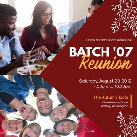 Red Formal High School Reunion Invite
