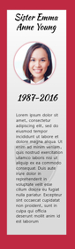 Red Funeral Keepsake Bookmark Half Page Legal template