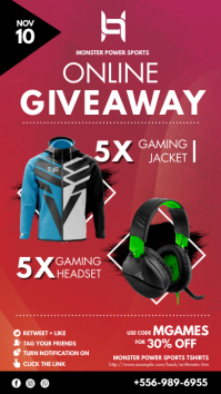 Red Gaming Accessories Giveaway Poster Instagram 故事 template