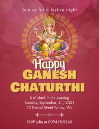 Red Ganesh chaturthi invitation flyer Pamflet (VSA Brief) template
