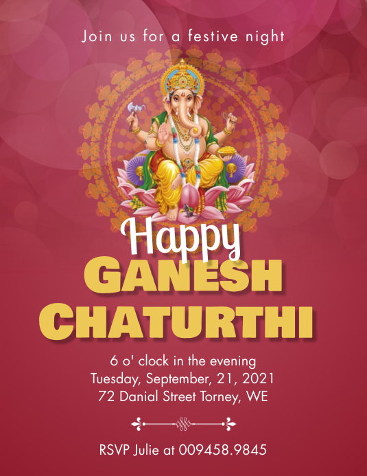 Red Ganesh chaturthi invitation flyer template