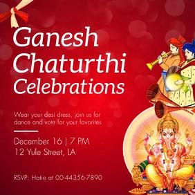 Red Ganesh Chaturthi Invitation Instagram Pos template