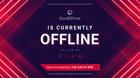Red Geometric Offline Twitch Banner template
