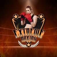Red Girl Extreme Boxing Club Logo Template