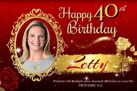 40th Birthday Banner 4' × 6' template