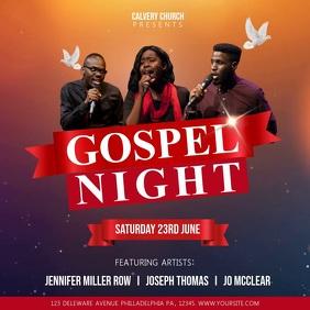 Red Gospel Night Church Event Square Video Quadrado (1:1) template