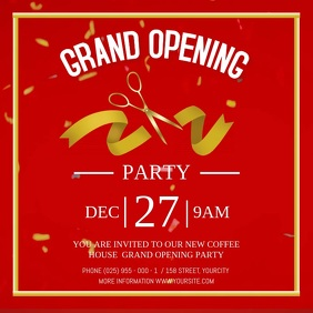 Red Grand Opening Party Square Video