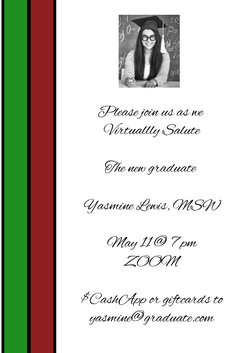 Red Green Zoom Graduation party virtual Zoom A1 template