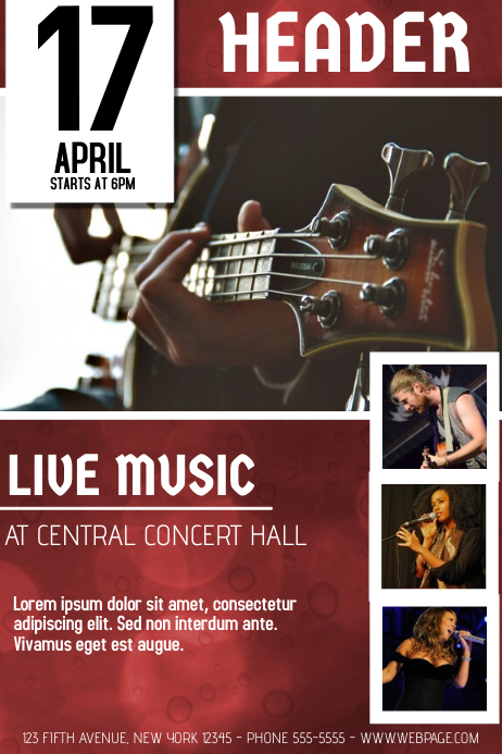 Red Guitar Concert Flyer Template With Pictures | Postermywall