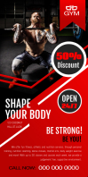 Red Gym Roll up Banner Rollbanner 3 stopy × 6 stóp template