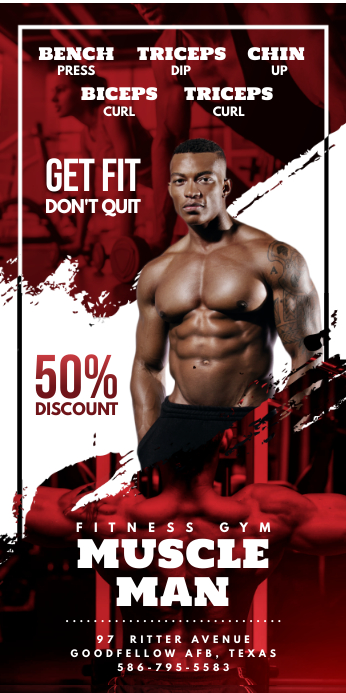 Red Gym Rollup Banner template