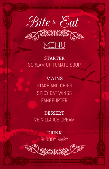 Red Half Page Wide Halloween Menu Customize Template