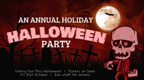 Red Halloween Party Event Digital Display Board