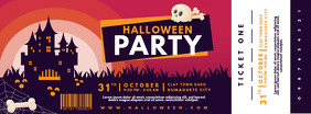 Red Halloween Party Ticket Banner Printable Facebook Cover Photo template